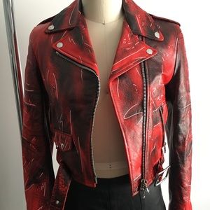 Moschino Biker Motorcycle Red Leather Jacket
